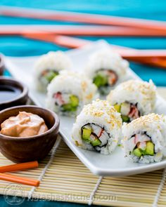 Use this recipe except to season the 2 cups of rice I used 1/2 cup rice vinegar, 2 Tbs sugar and 2 tsp salt. (Still dissolve in sauce pan)  California Roll Sushi_-2