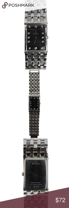 """Bulova Squareface Stainless Steel Wrist Watch Brand: Bulova Color: Silver with Black face Material: Stainless Steel Features diamonds on face Brushed metal featured on band  Condition GREAT pre-owned condition Needs batteries Very fine scratches on front,side, and back metal Crystal face has four very small chips that are unnoticeable unless looking very close.  Measurements Fits wrists that are 6"""" or smaller in circumference (please measure your wrist before purchasing) Full Length: 6.5""""…"""