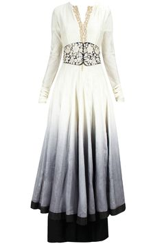 Grey shaded embroidered anarkali set available only at Pernia's Pop-Up Shop.
