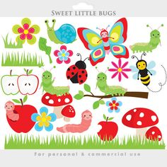 Cute bugs clipart - bugs clip art, caterpillar, worm, ladybug, lady bug, butterfly, snail, insects, insect, apple, mushroom, flowers, bee