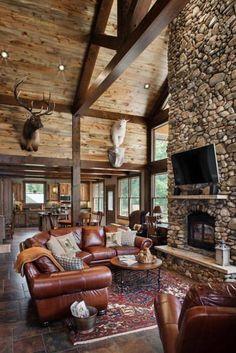 37 Attractive Log Cabin Interior Design Ideas For Tiny House - Cabin interiors -
