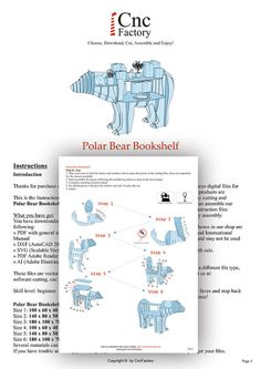 POLAR BEAR BOOKSHELF - Template cutting file - Polar Bear - laser and cnc router cutting plans, animal bookshelf, polar bear, wooden puzzle Diy Laser Cutter, Plasma Cnc, Polaroid, Cnc Router Machine, Laser Cutting Machine, Pin On, Bone And Joint, Cnc Projects, Dog Bones