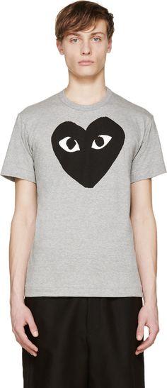 ad90809f25d Comme des Garçons Play Heather  amp  Black Heart Logo T-Shirt Play Clothing