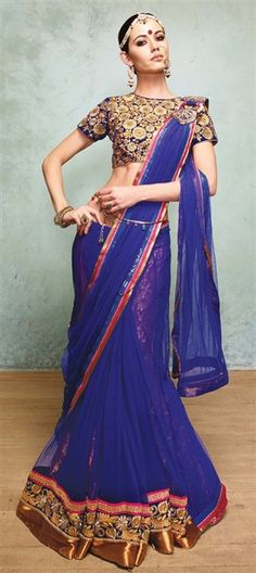 148080, Party Wear Sarees, Embroidered Sarees, Net, Viscose, Stone, Zari, Border, Lace, Machine Embroidery, Resham, Blue Color Family