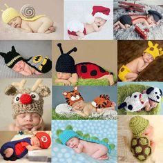 かわいい!! 2016新しいソフト新生児写真撮影の小道具ベビー帽子ベビーキャップ幼児服セット新生児かぎ針編みの衣装女の子のため/男の子