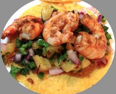 Shrimp Tacos with Grilled Pineapple Salsa by Enlightened Living Partner Tallie Mabray #summer #recipe #health