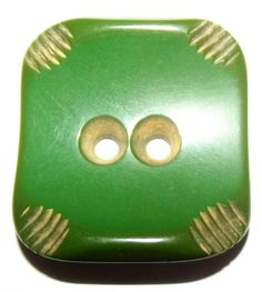 Big Green Vintage carved Bakelite button by bluehousebuttons, on etsy