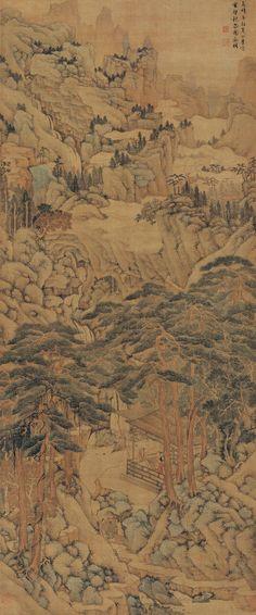 明代 - 文徵明 -《雲壑觀泉圖》            嘉靖辛卯(1531年)作。鈐印:文徵明印、衡山、停雲。题识:嘉靖辛卯夏四月,寫雲壑觀泉圖。徵明。簽條:宣统辛亥十月上虞羅振玉審定真迹。鈐印:振玉之印。鍳藏印:戴培之鍳藏書画印、角茶軒收藏書画之印。  Wen Zhengming (1470-1559, Ming dynasty)