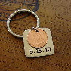Penny Keychain, Hand Stamped Date Year, Lucky Penny Metal Key Chain in Copper & Silver Nickel by PearlieGirl
