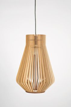 Already ASSEMBLED Scandinavian style wooden hanging lamp by BOTEH