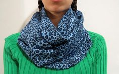 cheetah infinity scarf blue infinity scarf  by CraftyCleopatra