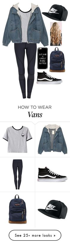 """""""Out with J, A, T, and big bro J"""" by haeys on Polyvore featuring Chicnova Fashion, NIKE, Casetify, Vans and JanSport"""