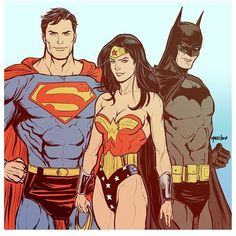 Superman, Wonder Woman and Batman Dc Comics Superheroes, Dc Comics Characters, Dc Comics Art, Marvel Dc Comics, Batman Robin, Batman And Superman, Robin Starfire, Character Drawing, Comic Character