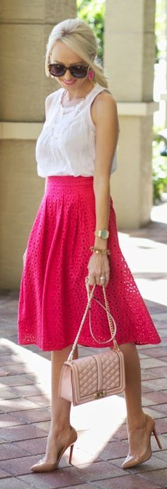 Pink Eyelet Skirt Outfit Idea by A spoonful of Style
