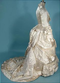 c. 1880 M.A. CONNELLY, 7 East 16th Street, New York Ivory Silk Satin Bustle Wedding Gown Ensemble
