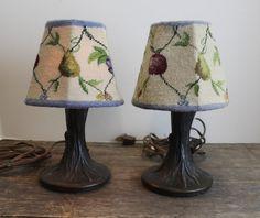 2 Vintage Cast Iron Tiffa-Mini Lamps // Needlepoint by MyBarn