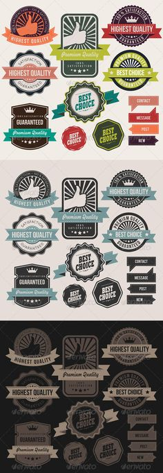 Retro Business Labels and Badges  #GraphicRiver         Set of Vector Retro Business Labels, Badges, Banners and Stickers. Vector Illustration EPS-10  All text is converted to outlines (non-font-based vector shapes)  Font Uses :  Bandaregular ;  Freehan521 BT  ; Bebas Neue  ; Bebas  ; Rockwell-Extra-Bold-Regular ;     Created: 19November13 GraphicsFilesIncluded: JPGImage #VectorEPS #AIIllustrator Layered: No MinimumAdobeCSVersion: CS Tags: advertisement #advertising #background #badge…