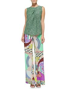 Sleeveless Ink-Print Top W/ Pleated Neck & Wide-Leg Silk Patch-Print Pants by Etro at Neiman Marcus.