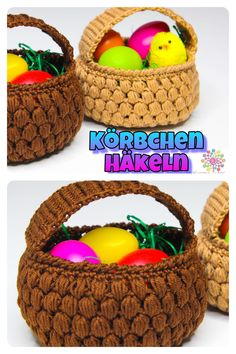 34 Trendy Ideas For Basket Crochet Simple Crochet Simple, Crochet Round, Crochet Home, Crochet Gifts, Crochet Sheep, Crochet Easter, Home Decor Baskets, Hat Making, Easter Baskets