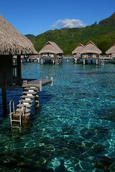 Over the water bungalows, Moorea, Polynesia