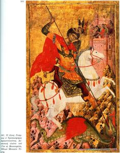 Byzantine icon of Saint George Byzantine Art, Byzantine Icons, Religious Icons, Religious Art, Fall Of Constantinople, Greek Soldier, Saint George And The Dragon, Roman Gods, Saint Georges
