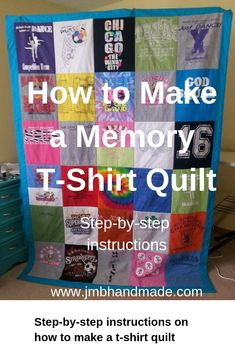 Easy step-by-step instructions with pictures on how to make a memory t-shirt qui. - Easy step-by-step instructions with pictures on how to make a memory t-shirt quilt for beginners. Quilting For Beginners, Quilting Tips, Quilting Projects, Beginner Quilting, Beginner Quilt Patterns, Easy Sewing Projects, Sewing Projects For Beginners, Sewing Crafts, T-shirt Quilts