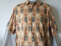 REYN SPOONER Hawaiian Traditionals Gold Shirt Floral Palm Tree Aloha Beach Size Large