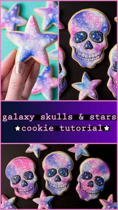 Galaxy skull and star cookie tutorial! Galaxy skull and star cookie tutorial! Star Sugar Cookies, Sugar Cookie Icing, Cookie Frosting, Royal Icing Cookies, Halloween Baking, Halloween Cookies, Halloween Biscuits, Galaxy Desserts, Galaxy Cookies