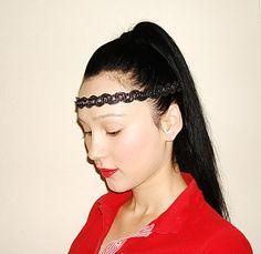 Black Headband Thin Hairband Bohemian Headband Hippie by damlace, $9.00