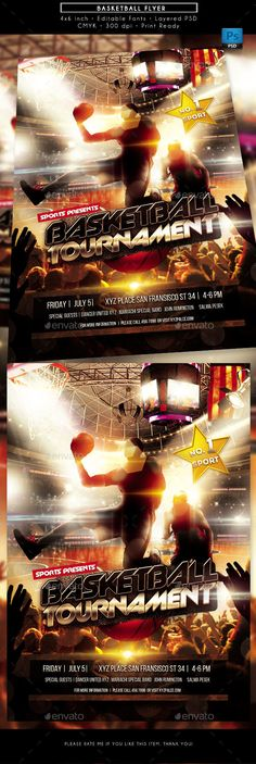 #Basketball Sports #Flyer - Sports #Events Download here:  https://graphicriver.net/item/basketball-sports-flyer/20332506?ref=alena994