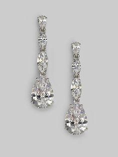 Adriana Orsini - Sterling Silver Pear Drop Linear Earrings - Saks.com