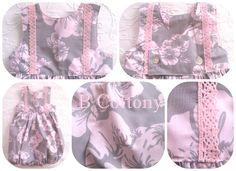 Cueiro de perna de tecido havaianas cor de rosa e cinza com renda de algodão cor de rosa