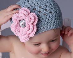 Del ganchillo a bebé sombrero con flor sombrero del verano