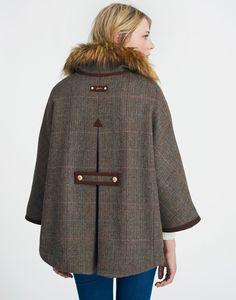 Contessa Isla Herringbone Tweed Cape | Joules US