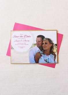 Beautiful kraft-layered Save the Date card