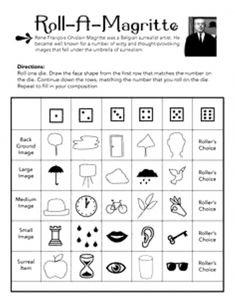 Leuk Roll A Magritte For The Classroom Art Worksheets Artist Rene Magritte, High School Art, Middle School Art, Documents D'art, Classe D'art, Art Sub Plans, Art Handouts, Art Worksheets, Ecole Art