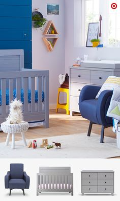 Want a bold, modern look for your baby's nursery? These items are right up your alley and ready to add to your registry. The Simmons Kids Rowen 4-in-1 Crib 'n' More converts to a toddler bed, daybed or full-sized bed, and the matching Double Dresser will easily store all those cute baby clothes. The Delta Children Lux Swivel Chair is perfect for cuddling and playing with Baby. Complete the look with the Circo Triangle 4-pc. Bedding Set, including comforter, dust ruffle, blanket and crib…