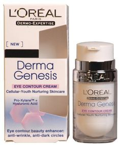 L'Oreal Dermo-Expertise Derma Genesis Eye Contour Cream 15ml/0.5oz by L'Oreal Paris. $11.99. A lightly-tinted, delicately scented eye cream. A lightly-tinted delicately scented eye cream Formulated with patented Pro-Xylane & Hyaluronic Acid Reduces appearance of wrinkles fine lines & dark circles Unveils calmer sleeker & plumper eye contoursProduct Line: L'Oreal - Genesis - Eye CareProduct Size: 15ml/0.5oz