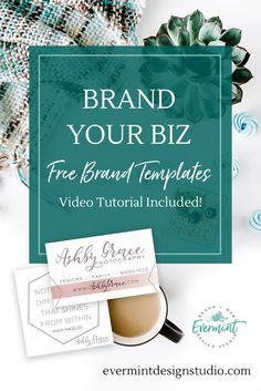 BRAND YOUR BIZ // FREE Brand Templates from EverMint Design Studio. Click through to download the free business card + social media + blog post templates, and watch the video tutorial to learn how to customize them for your business! www.evermintdesignstudio.com/blog