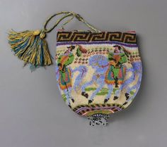 Western European round drawstring bag, 1800-1820 @ MFA Boston cotton and beadwork.