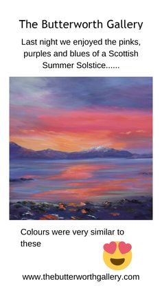Butterworth, Summer Solstice, Sunsets, Purple, Pink, Blues, Colours, Fine Art, Gallery