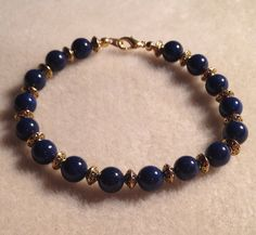 Blue Egyptian lapis bracelet  by azCreationsByAlyssa on Etsy