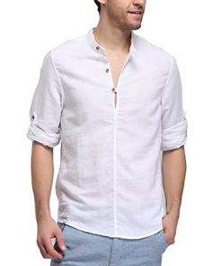100% Linen. Band Collar Long Sleeve Shirt for men Casual Henley Shirt for boys Beach shirt