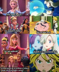 elizabeth é uma princesa da disney kkk Anime Meme, Otaku Meme, Manga Anime, Meliodas And Elizabeth, Elizabeth Liones, Seven Deadly Sins Anime, 7 Deadly Sins, Princesa Elizabeth, Alternative Disney Princesses