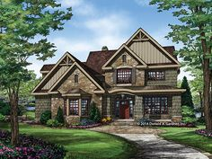 ePlans Craftsman Style House Plan – Stone and Shingle Stunner – 2876 Square Feet and 4 Bedrooms from ePlans – House Plan Code HWEPL77457