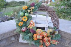 Shop for wreath on Etsy, the place to express your creativity through the buying and selling of handmade and vintage goods. Fall Wreaths, Christmas Wreaths, Scarecrow Wreath, Grapevine Wreath, Grape Vines, Harvest, Holiday Decor, Creative, Handmade