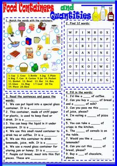Food Containers and Quantities - English ESL Worksheets for distance learning and physical classrooms English Teaching Materials, Teaching English Grammar, English Grammar Worksheets, English Writing Skills, English Lessons, Learn English, English Vocabulary, Teaching Jobs, Teaching Activities