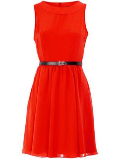 orange 50s georgette dress $35 #dress