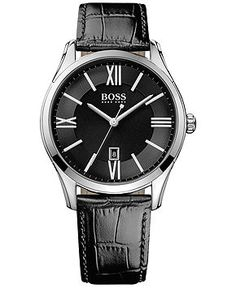 Hugo Boss Men's Ambassador Black Leather Strap Watch 43mm 1513022 - Watches - Jewelry & Watches - Macy's