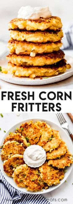 These easy Fresh Corn Fritters are loaded with corn flavor thanks to a secret ingredient and one of our favorite ways to use sweet summer corn when it is available, although you can also use frozen or even canned corn to enjoy these year round! They make a perfect appetizer, snack, or side dish! #corn #fritters #recipe #easy #cheesy #sweet #fresh #homemade